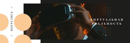Man using vr glasses Twitter – шаблон для дизайна