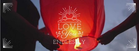 Designvorlage Soulmates holding Chinese Lantern on Valentine's Day für Facebook Video cover