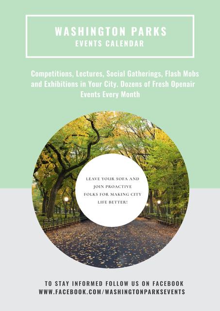 Plantilla de diseño de Events in Washington parks Poster