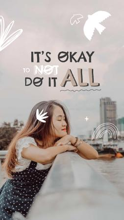 Mental Health Inspiration with Cute Girl in City Instagram Story Design Template