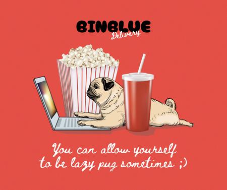 Funny Dog typing on Laptop with Popcorn Facebook – шаблон для дизайна