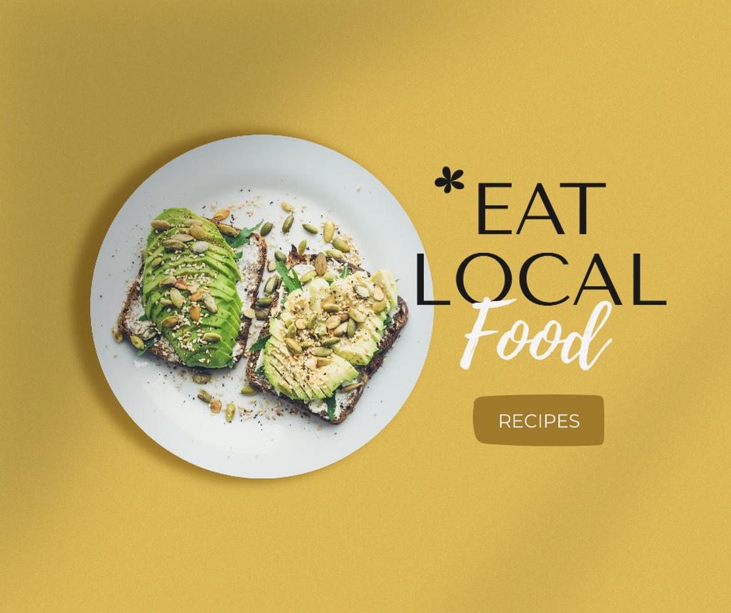 Food Recipes Ad with Vegan Sandwiches Facebook Modelo de Design