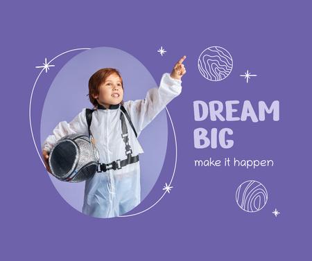 Cute Little Boy in Astronaut's Suit Facebook – шаблон для дизайна