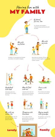 List infographics about having fun with Family Infographic Modelo de Design