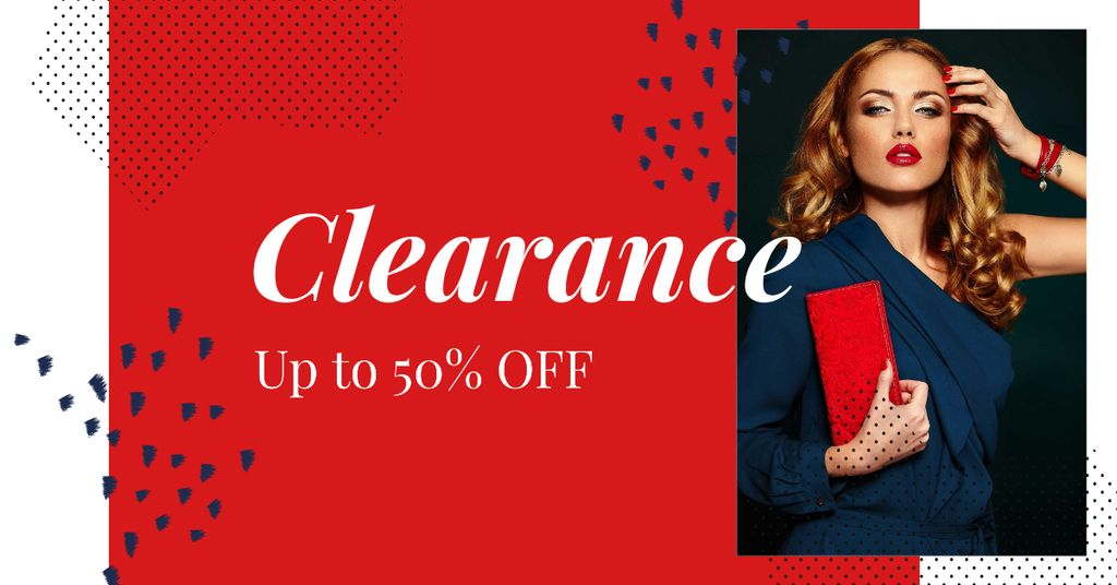 Special Discount Offer with Woman in Stylish Outfit Facebook AD Design Template