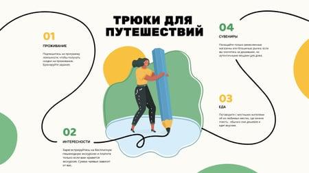 Travel Hacks with Woman drawing Mind Map – шаблон для дизайна