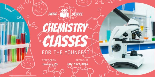 Chemistry Classes with Microscope in Lab Twitter – шаблон для дизайна