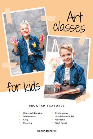 Art Classes Ad with Child Painting by Easel Pinterestデザインテンプレート