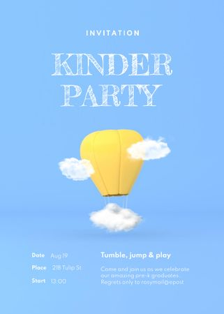 Kid's Party Announcement with Air Balloon in Clouds Invitation Modelo de Design
