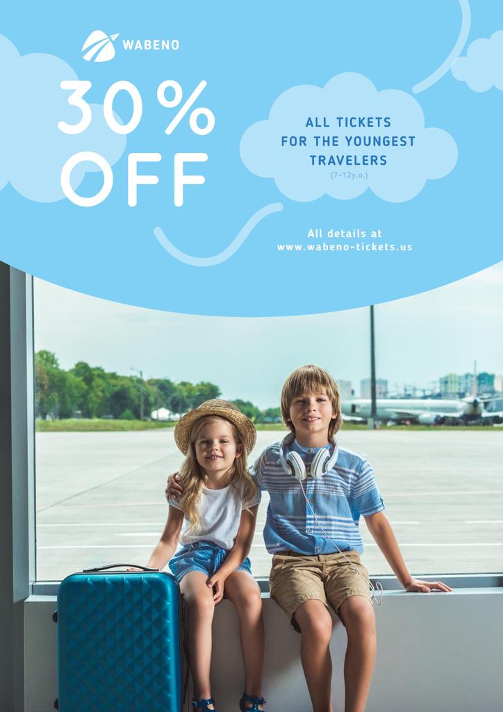 Tickets Sale with Kids in Airport — Maak een ontwerp