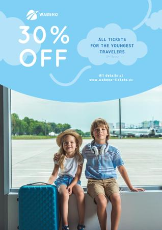 Tickets Sale with Kids in Airport Poster – шаблон для дизайну
