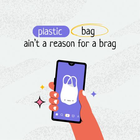 Ontwerpsjabloon van Instagram van Eco Concept with Plastic Bag on Screen