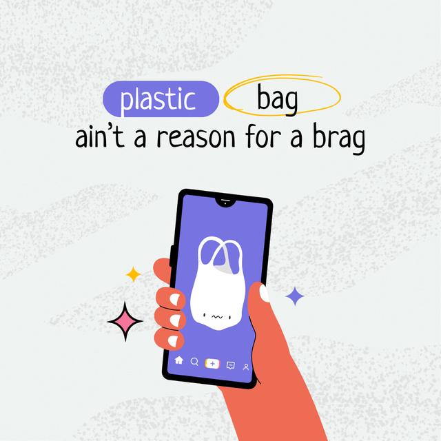 Designvorlage Eco Concept with Plastic Bag on Screen für Instagram