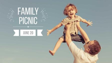 Plantilla de diseño de Family Picnic Announcement with Happy Child in Father's Hands FB event cover