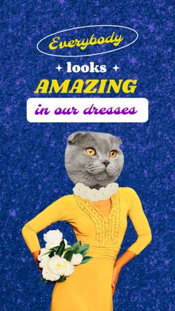 Plantilla de diseño de Funny Cat in Female Dress Instagram Story