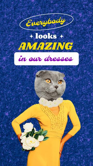 Funny Cat in Female Dress Instagram Storyデザインテンプレート