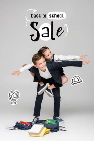 Ontwerpsjabloon van Pinterest van Back to School Sale Offer with Cute Pupil Boy