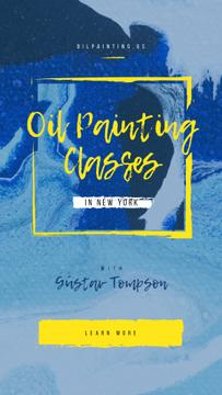 Painting Classes Offer with Blue paint blots