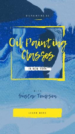 Painting Classes Offer with Blue paint blots Instagram Story – шаблон для дизайну