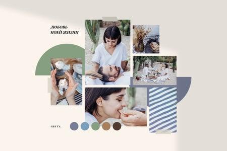 Summer inspiration with Couple on Picnic Mood Board – шаблон для дизайна