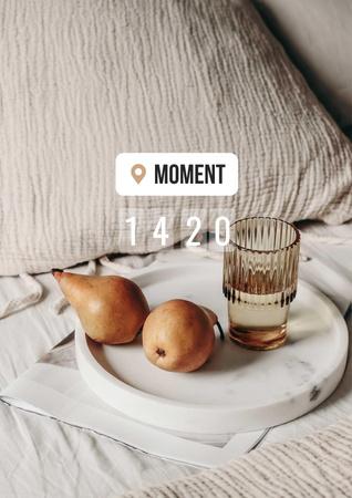 Ontwerpsjabloon van Poster van Pears and Glass of Water in Bed