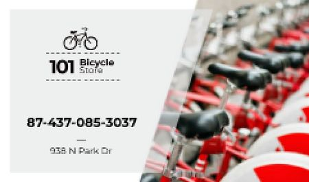 Bicycle Store Ad in Red Business card Modelo de Design