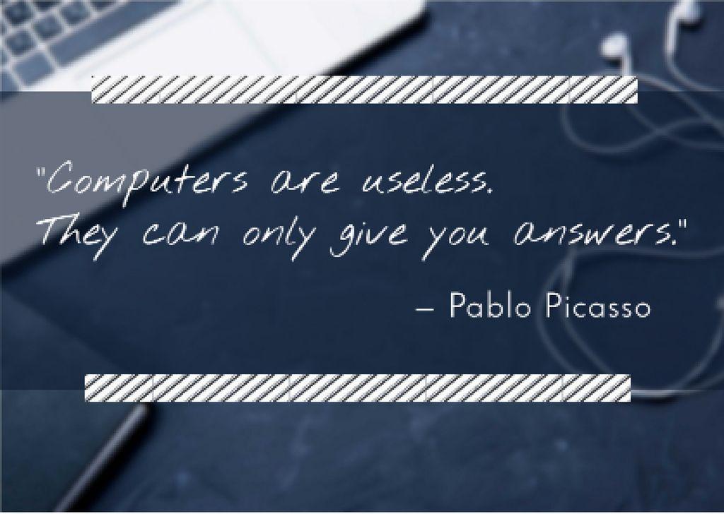 Designvorlage Motivational quote with Laptop für Card