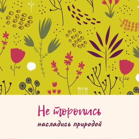 Nature Inspiration with Flower Doodles on Yellow Animated Post – шаблон для дизайна