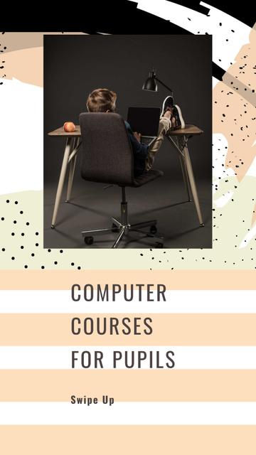 Plantilla de diseño de Computer Courses for Pupils Offer Instagram Story