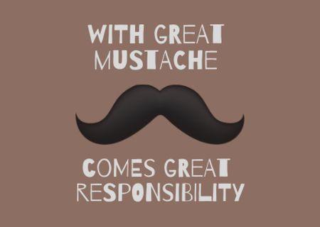 Funny Phrase with Moustache Illustration Card Modelo de Design