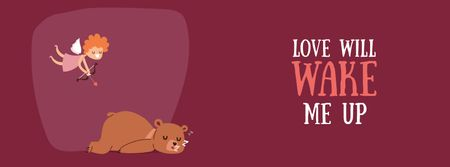 Plantilla de diseño de Valentine's Day Cupid shooting arrow in sleeping Bear Facebook Video cover
