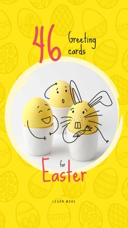 Colored Cute Easter eggs on Yellow Instagram Story Modelo de Design