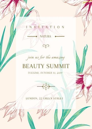 Szablon projektu Beauty summit announcement on Spring Flowers Invitation
