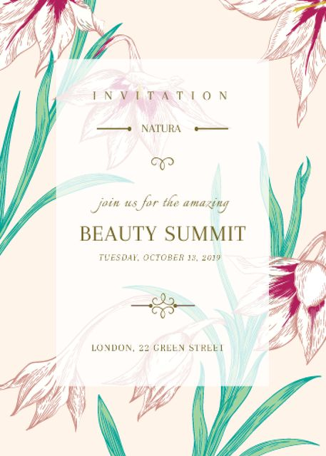 Beauty summit announcement on Spring Flowers Invitation Design Template