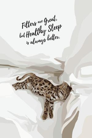Plantilla de diseño de Phrase about Healthy Sleep with Little Sleeping Lynx Pinterest