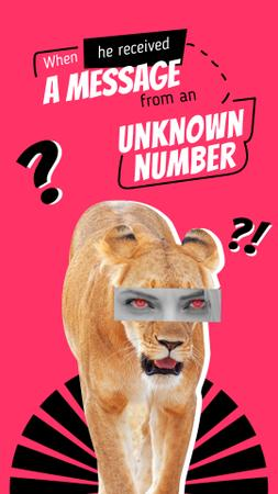 Modèle de visuel Funny Illustration of Lioness with Female Eyes - Instagram Video Story