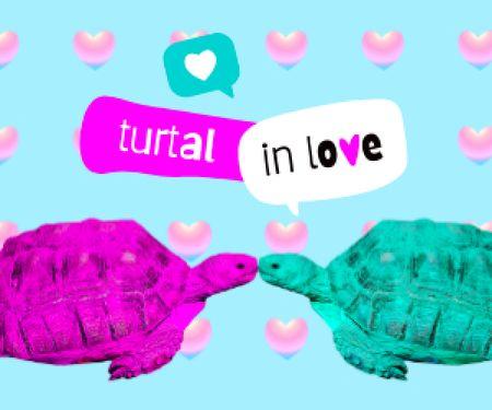 Designvorlage Cute Illustration with Kissing Turtles für Medium Rectangle