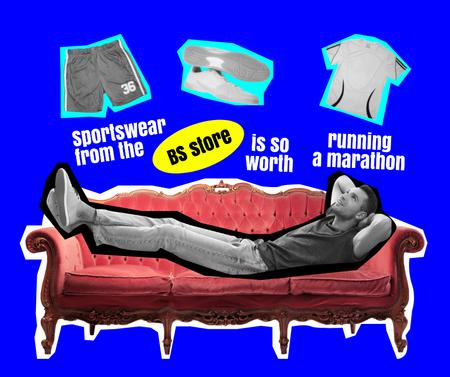 Plantilla de diseño de Lazy Man dreaming of Sportswear Facebook