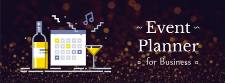 Calendar and champagne icons Facebook Video cover Modelo de Design