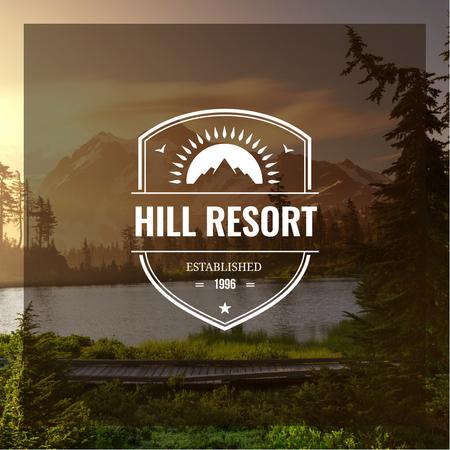 Resort ad with Mountains Lake View Instagram AD Design Template