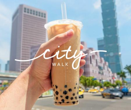 Template di design City Walk with Bubble tea Facebook