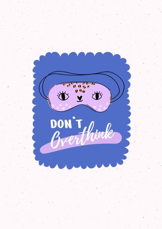 Designvorlage Mental Health Inspiration with Cute Eye Mask für Poster