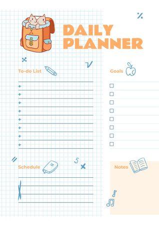 Plantilla de diseño de Daily Planner with Cute Cat in School Backpack Schedule Planner