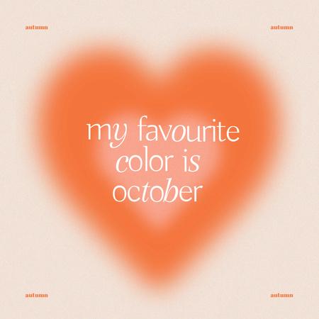 Inspirational Phrase about Autumn with Orange Heart Instagram – шаблон для дизайну