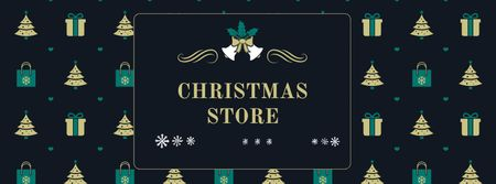 Christmas Store Offer with Fir Trees and Gifts Facebook coverデザインテンプレート