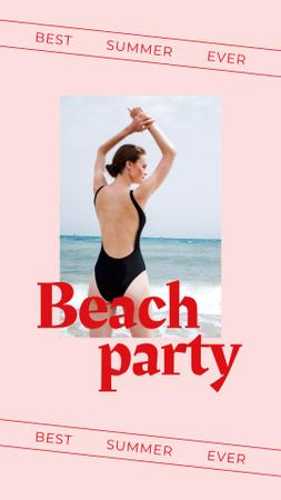 Summer Beach Party Announcement with Woman in Swimsuit Instagram Story Modelo de Design