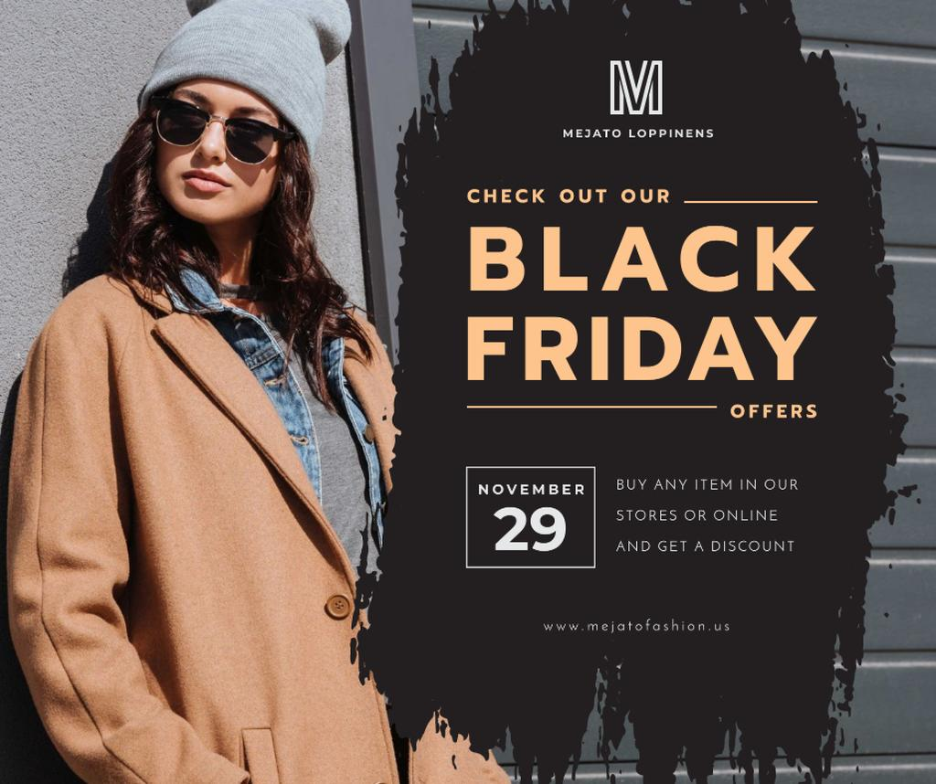 Black Friday sale Stylish girl in Sunglasses — Modelo de projeto
