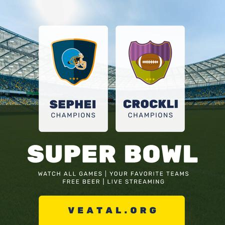 Super Bowl Match Announcement Stadium View Instagram Design Template