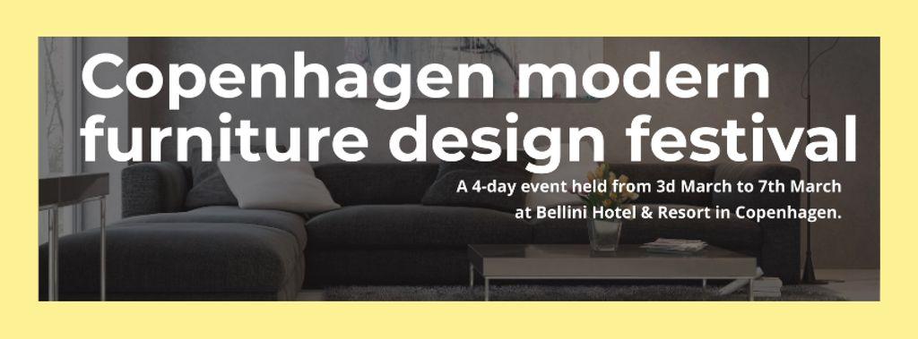 Interior Decoration Event Announcement with Sofa in Grey — ein Design erstellen