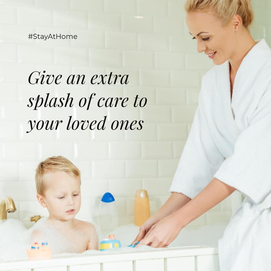 #StayAtHome Mother bathes little Child with toys - Vytvořte návrh